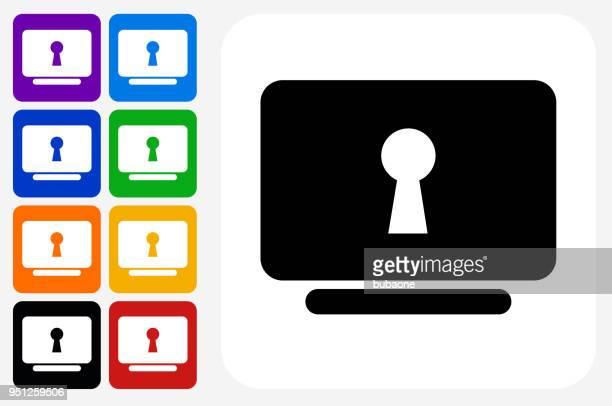 ilustraciones, imágenes clip art, dibujos animados e iconos de stock de clave agujero seguro icono cuadrado botón set - ojo de cerradura