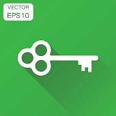 Key icon. Business concept key pictogram. Vector illustration on green background with long shadow.