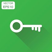 Key icon. Business concept unlock symbol pictogram. Vector illustration on green background with long shadow.