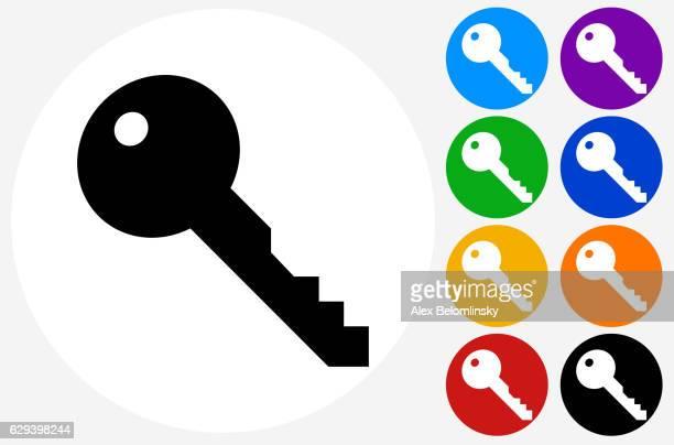ilustrações, clipart, desenhos animados e ícones de key icon on flat color circle buttons - chave