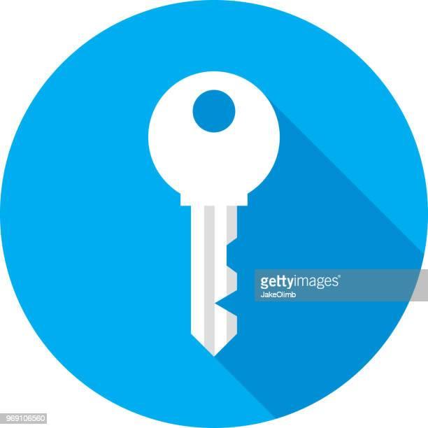 ilustraciones, imágenes clip art, dibujos animados e iconos de stock de icono de llave silueta - diseño plano