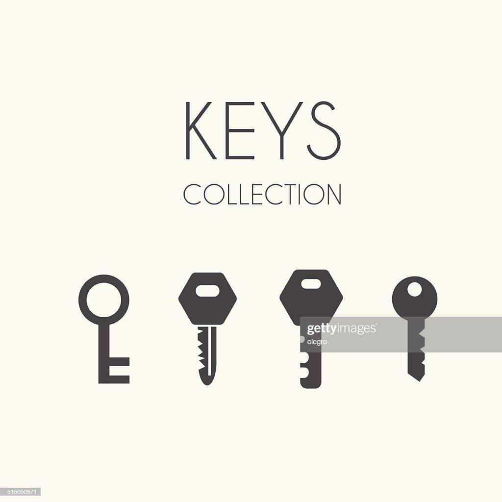 Key icons, flat style