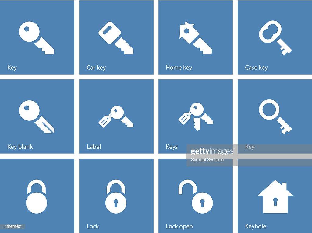 Key icons on blue background.