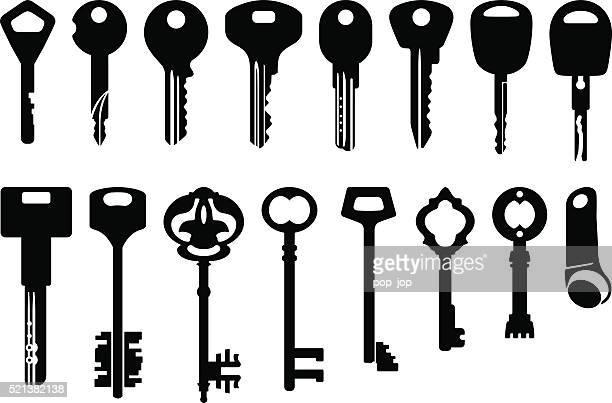 key icons set - illustration - key stock illustrations, clip art, cartoons, & icons