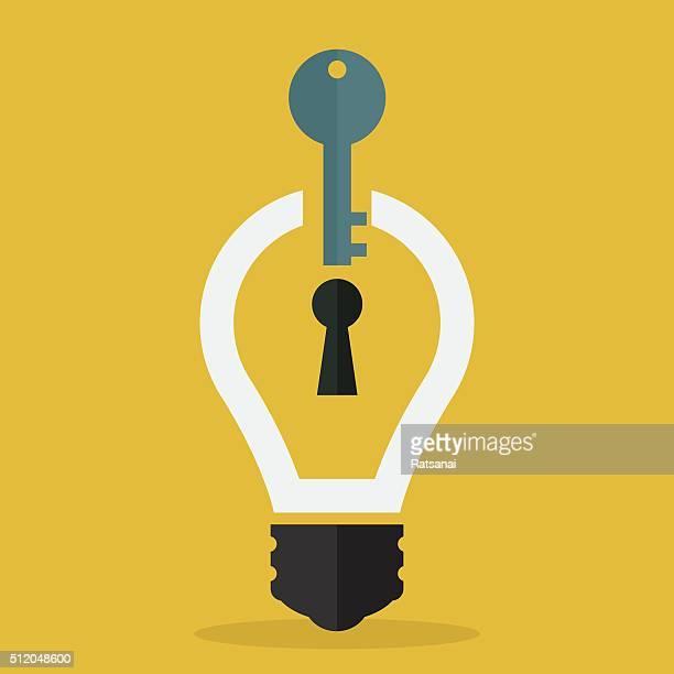 ilustrações, clipart, desenhos animados e ícones de idéia conceito-chave - chave