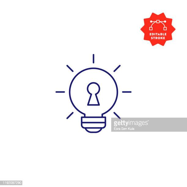 key idea single line icon with editable stroke and pixel perfect. - unlocking stock illustrations