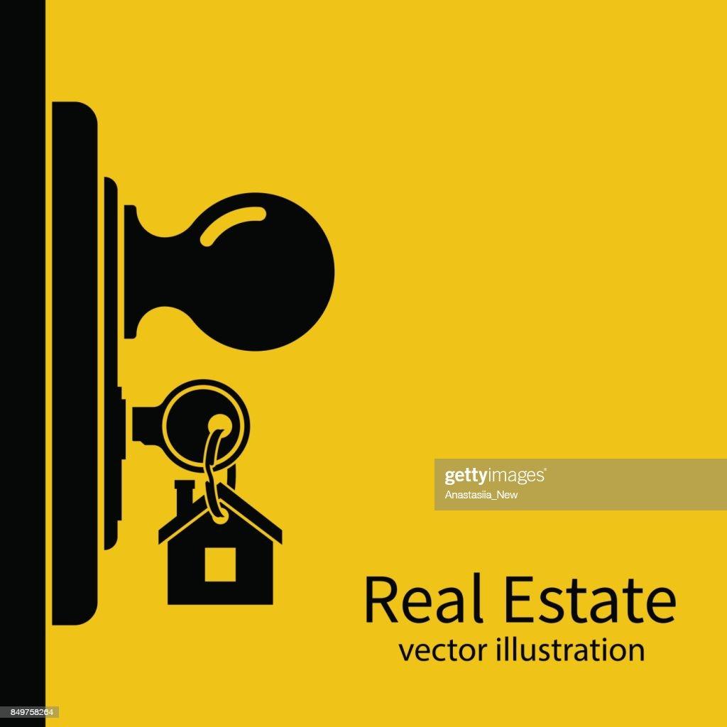 Key in keyhole on door silhouette.