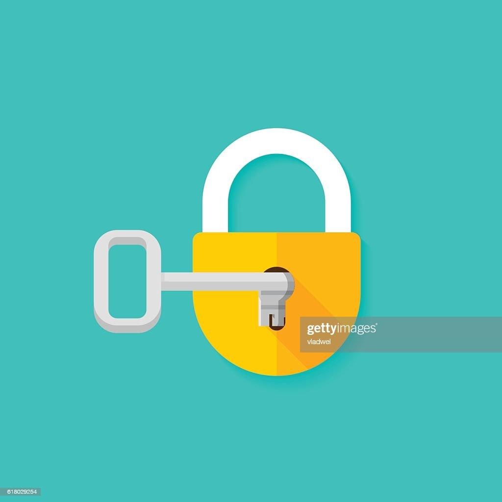 Key in keyhole opening closed padlock vector illustration