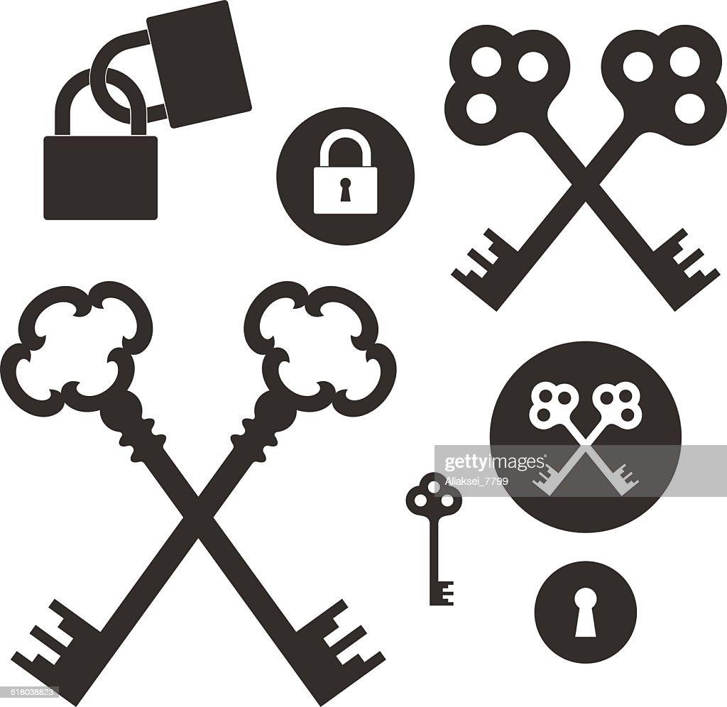 Key. Lock. Icon set