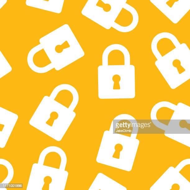 key lock pattern silhouette - lock sporting position stock illustrations