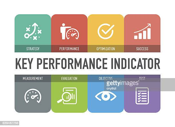 key performance indicator icon set - business strategy stock illustrations