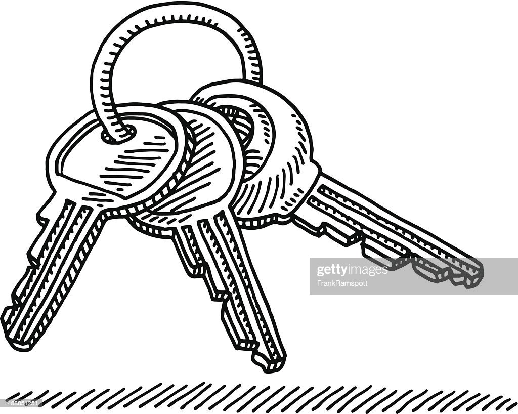 D Line Drawings Key : Key ring drawing vector art getty images