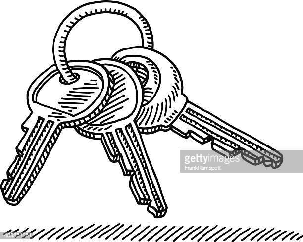 key ring drawing - key stock illustrations, clip art, cartoons, & icons