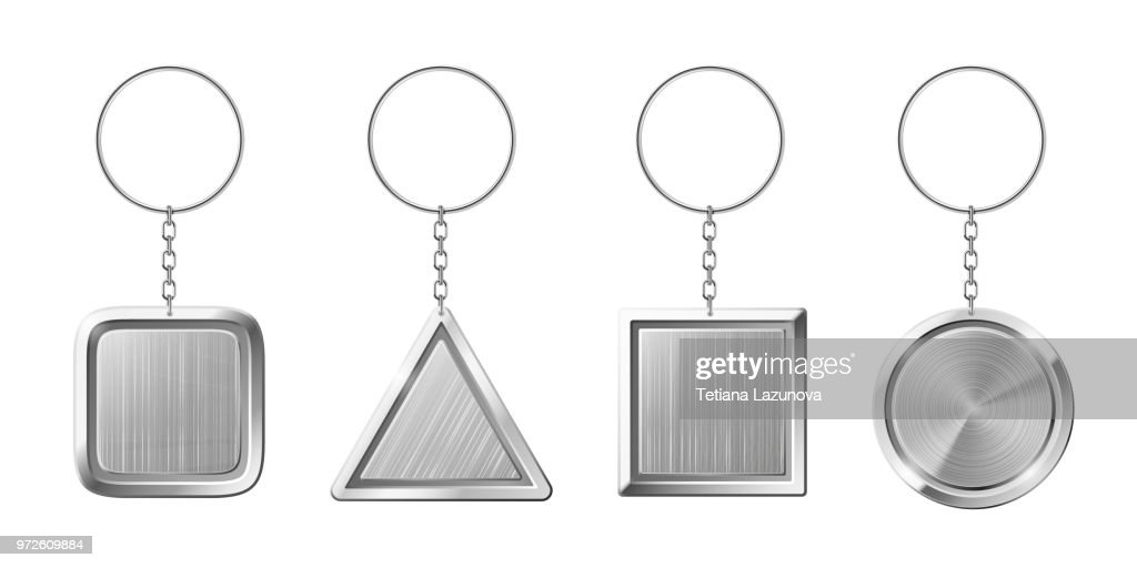 Key ring with silver pendant holder. Blank keychain with ring for keys. Isolated key chains for home or car keys realistic vector set