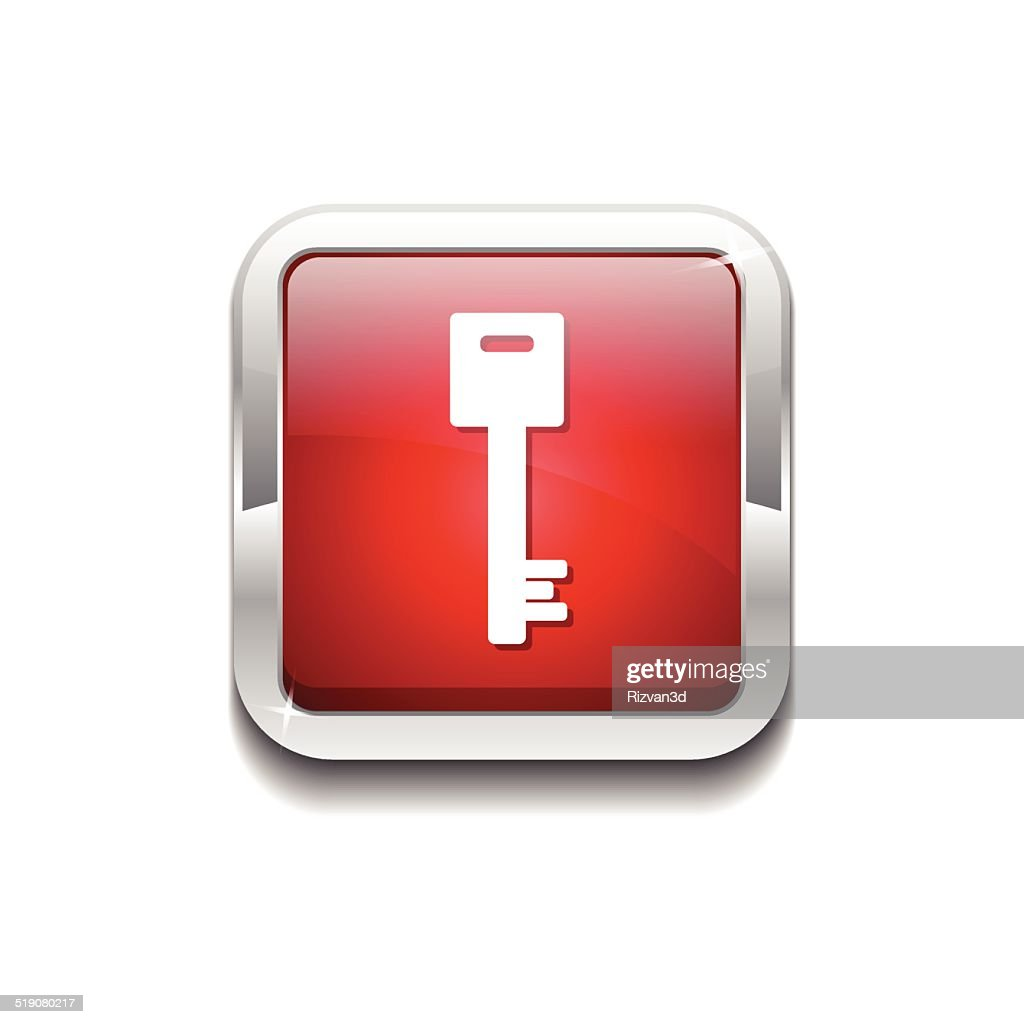 Key Sign Red Vector Icon Button