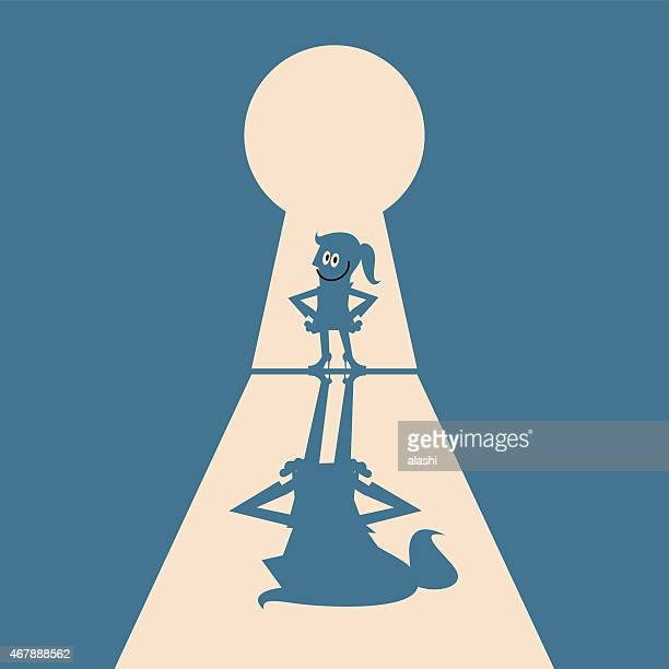 Key to success, business women standing at entrance of keyhole