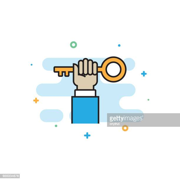 key to success flat line icon - key stock illustrations