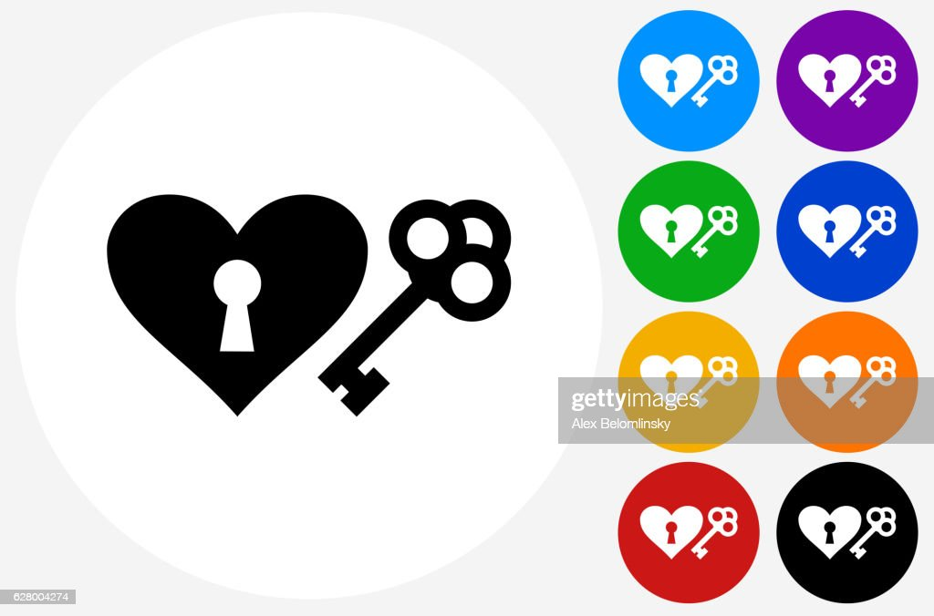 Key To The Heart Icon On Flat Color Circle Buttons Vector Art