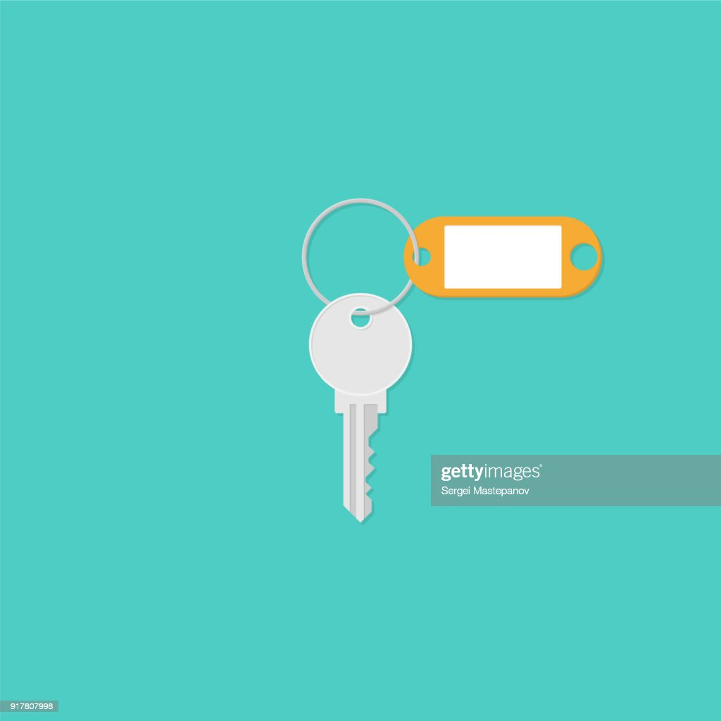 Key with a blank key-tag. Illustration in flat style