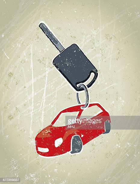 illustrations, cliparts, dessins animés et icônes de clé avec porte-clés en forme de voiture - permis de conduire