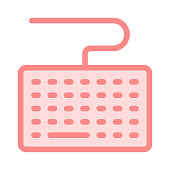 keyboard colour line vector icon