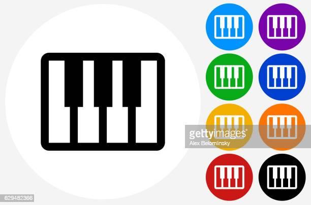 ilustraciones, imágenes clip art, dibujos animados e iconos de stock de keyboard icon on flat color circle buttons - tecla de piano