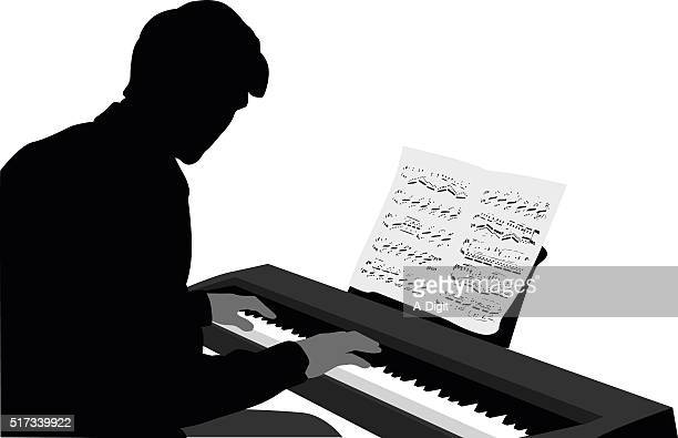 keyboard music score - waist up stock illustrations, clip art, cartoons, & icons