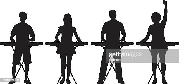 keyboardists - keyboard player stock illustrations