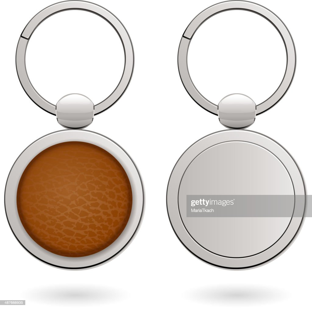 Keychains with empty round trinkets - leather and metallic.
