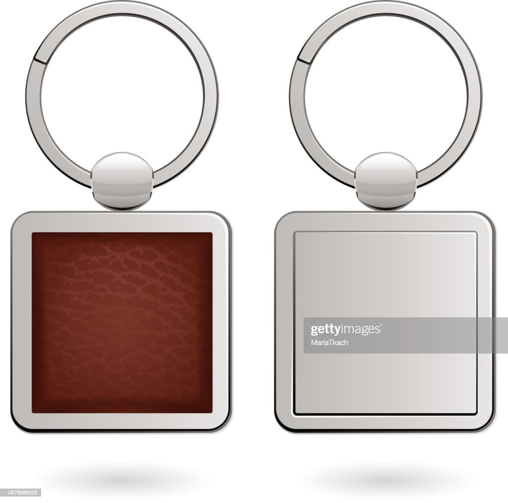 Keychains with empty square trinkets - leather and metallic.