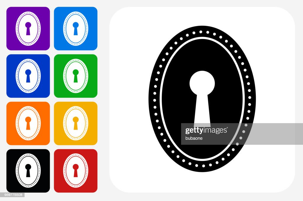 Schlüsselloch-Symbol Square Buttonset : Stock-Illustration