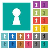 Keyhole square flat multi colored icons