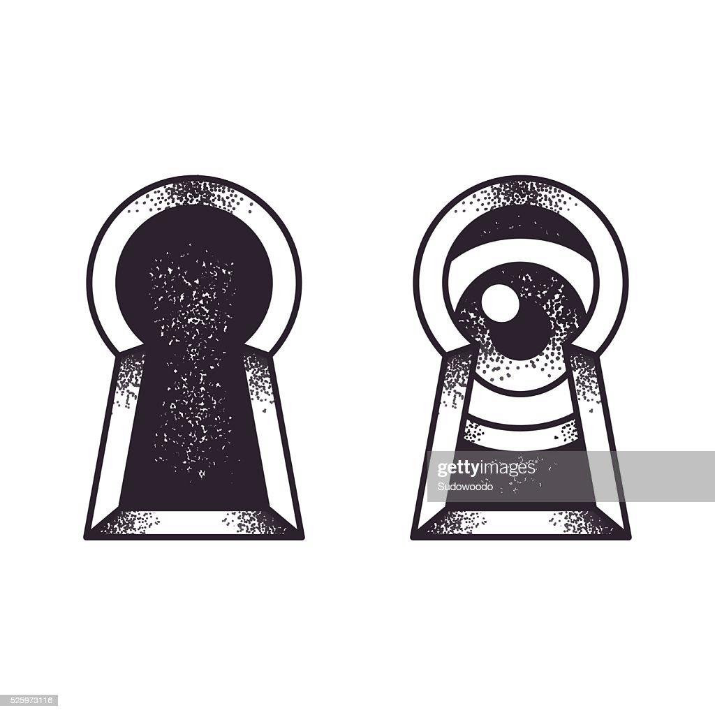 Keyhole with eye illustration