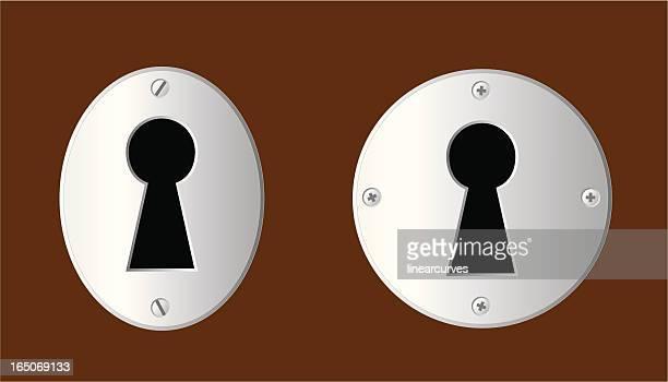 ilustraciones, imágenes clip art, dibujos animados e iconos de stock de keyholes - ojo de cerradura