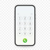 Keypad for on smartphone screen. Application Interface on mobile phone. Vector stock illustration.