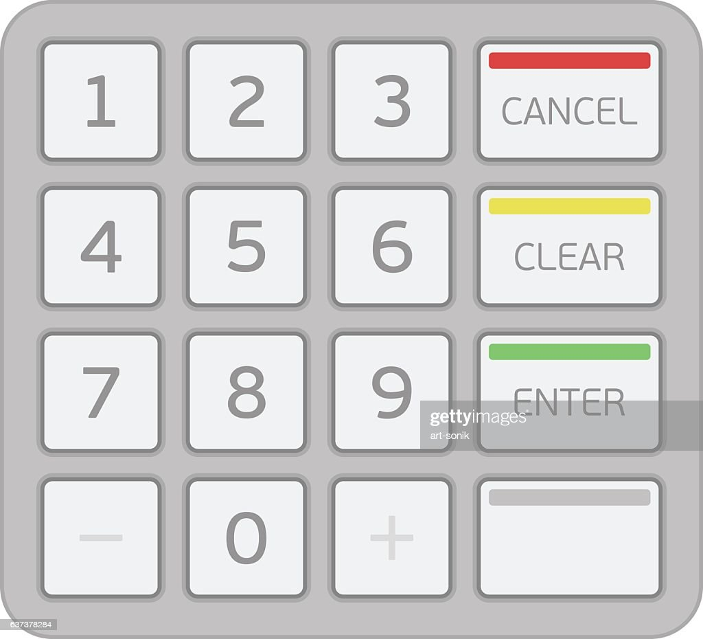 Keypad of an automated teller machine.