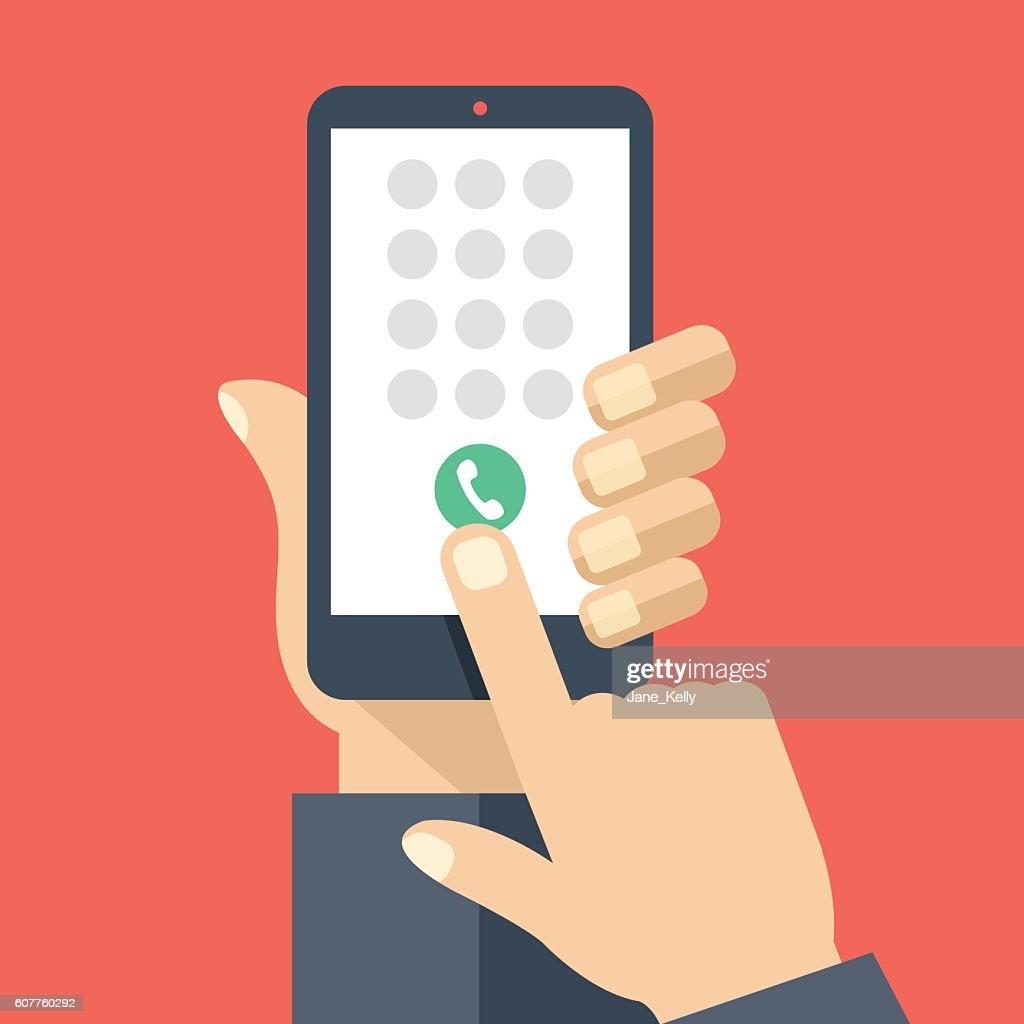 Keypad on smartphone screen. Mobile phone call. Flat vector illustration