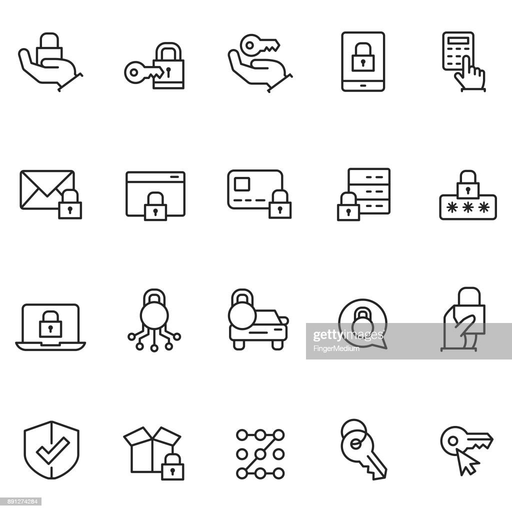 Keys and lock icons : stock illustration