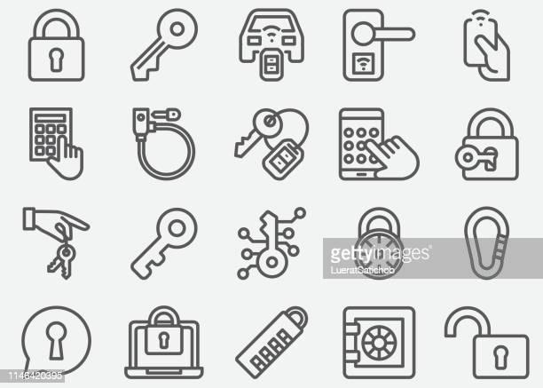 keys and locks line icons - key stock illustrations