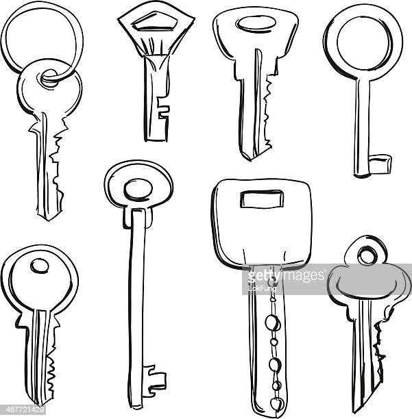 keys collection in black and white - key stock illustrations