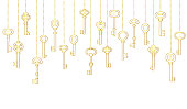 Keys icons set, seamless pattern. Gold keys signs and symbols collection. vector illustration.