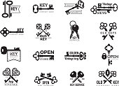 Keys logotype. Real estate badges door and gate access symbols silhouettes of ornate and modern steel keys vector collection