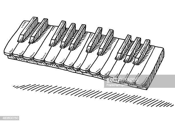 ilustraciones, imágenes clip art, dibujos animados e iconos de stock de llaves de un instrumento de teclado de dibujo - tecla de piano