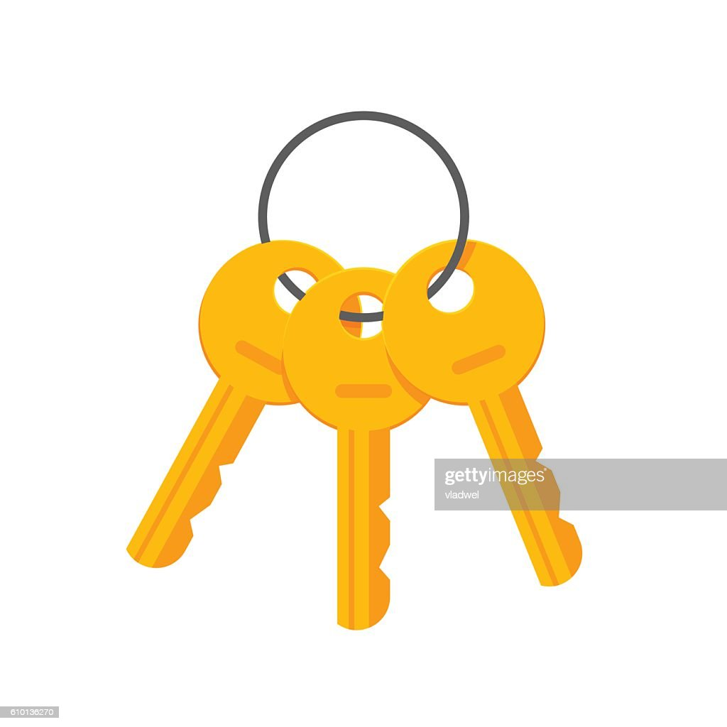 Keys on key ring vector illustration isolated