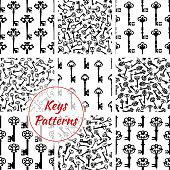 Keys seamless vector patterns set