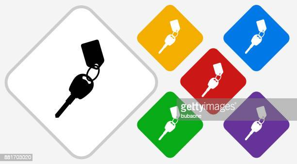 Keys with Keychain Color Diamond Vector Icon