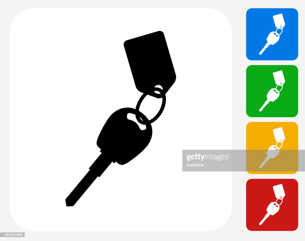 Keys with Keychain Icon Flat Graphic Design