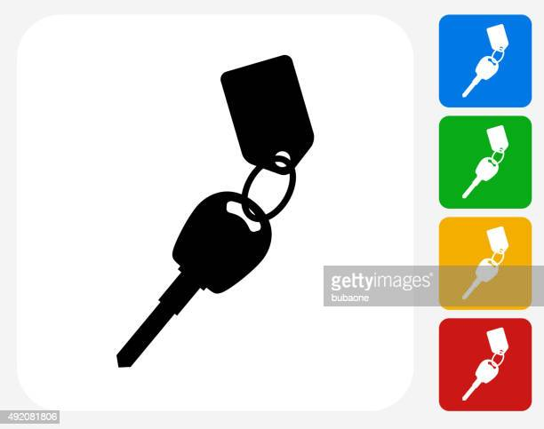 keys with keychain icon flat graphic design - parking sign stock illustrations