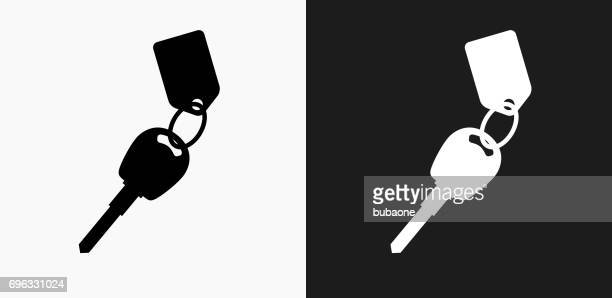 Keys with Keychain Icon on Black and White Vector Backgrounds