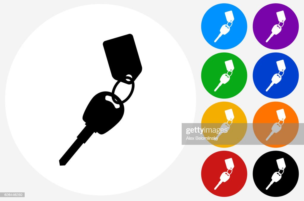 Keys with Keychain Icon on Flat Color Circle Buttons